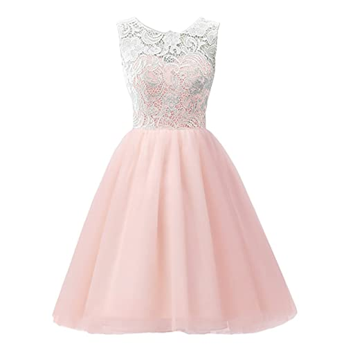 MicBridal Short Lace and Tulle Party Dress Evening Gown for Girls&Women