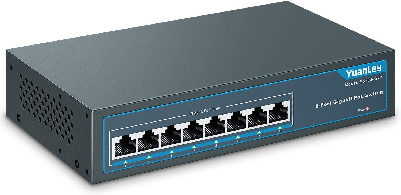 YuanLey 8 Port Gigabit PoE Switch, 120W 802.3af/at, Metal sin Ventilador Plug and Play no Administrado