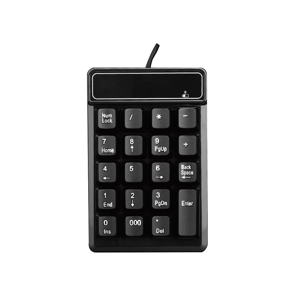 USB Number Pad, KeWalker 19 Keys Waterproof Silent Numeric Keypad with Mini USB cable, for Laptop / Notebook, Compatible with Windows System