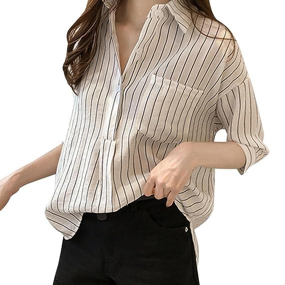 Camisa Casual Manga Corta Mujer, Covermason Blusa líder de Estiramiento de Color sólido de Las