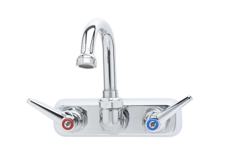 T&S Brass B-1146-01 Workboard Faucet, Wall Mount, 4-Inch Centers, 131X Swivel Gooseneck, Lever Handles