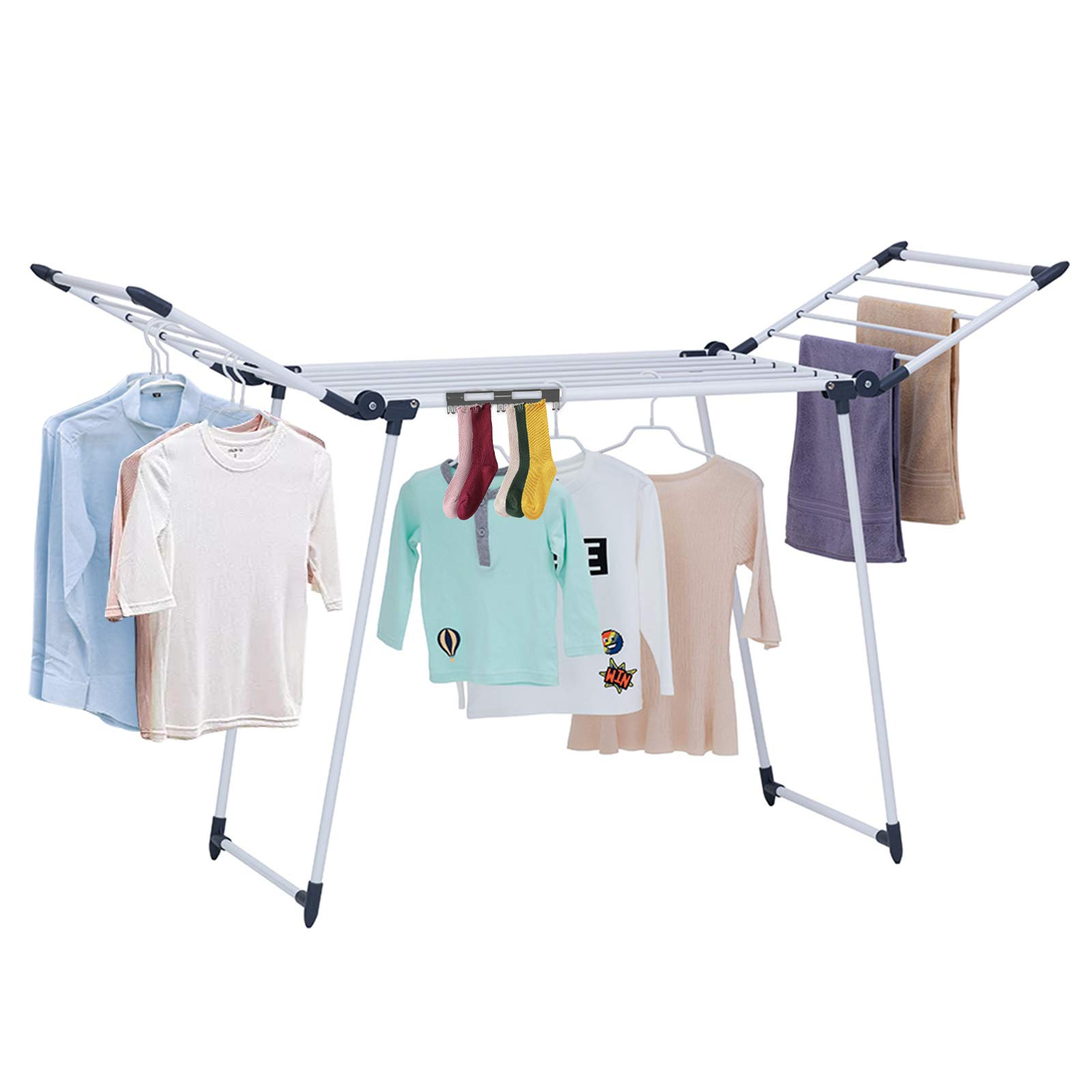 YUBELLES Gullwing Drying Rack Foldable Laundry Rack for Indoor and Outdoor Use for Bed Linen Socks Grey Clothes Drying Rack Scarves