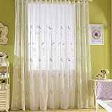WPKIRA 1 Panel Girls Room Decor Transparent Sheer Curtains Drapes Rod Pocket Top Embroidery Butterfly and Dandelion Window Treatment Panels Screens Living Room Sliding Glass Door W75 x L84 inch Review