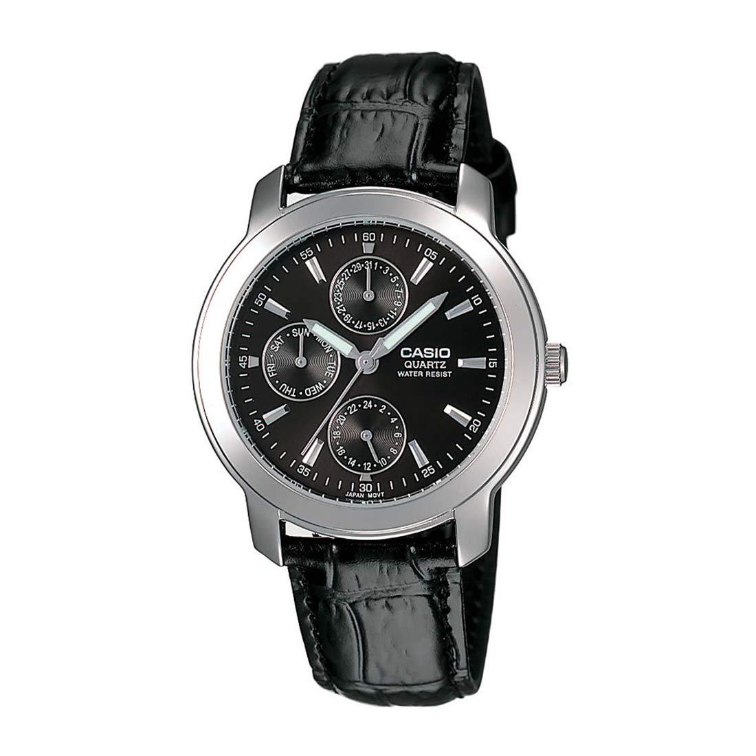 Casio MTP-1192E-1ADF - Reloj (Reloj de pulsera, Acero inoxidable, Cuero, Negro, Mineral, Alrededor)