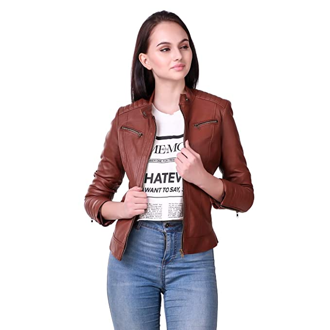 c6e0e60591a Leather Retail Faux Leather Jacket for Female  Amazon.in  Clothing ...