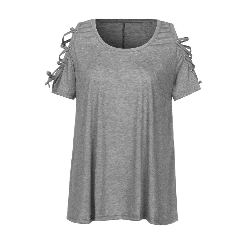 UOKNICE Blouses for Womens Casual Cold Shoulder Lace Up Short Sleeve Dressy Tunic Pullovers T-Shirts Tees Tops