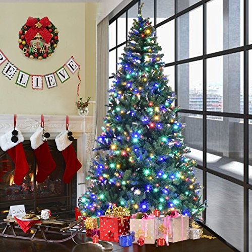 Goplus 8FT Pre-Lit Artificial Christmas Tree Auto-spread/ close up Branches 11 Flash Modes with Multicolored LED Lights & Metal Stand