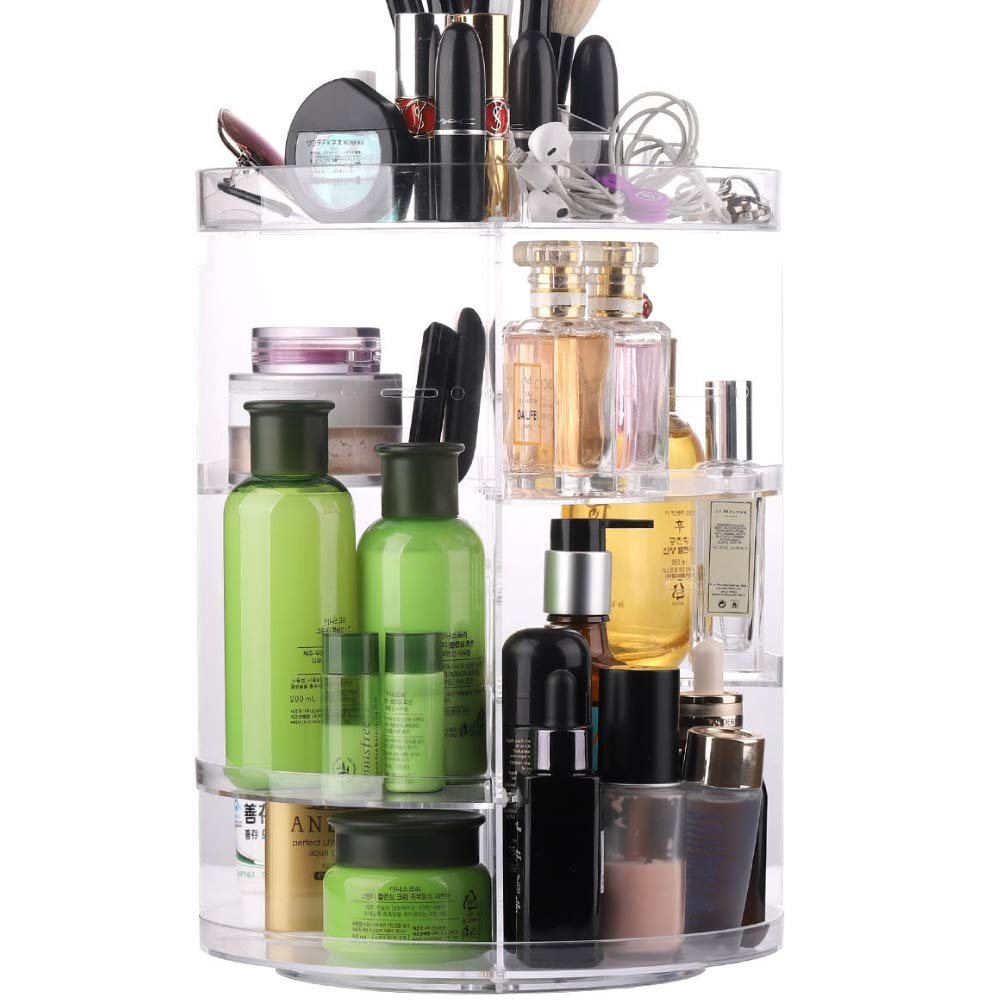 SUNFICON 360 Degree Rotating Makeup Organizer, Adjustable Multi-Function Large Capacity Cosmetic Storage Box Display Holder, Acrylic Clear