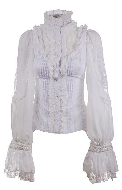 release date: 4c47a 76d1c RQ-BL Camicia Bianca Elegante, Pizzo A Fiori e Maniche a ...