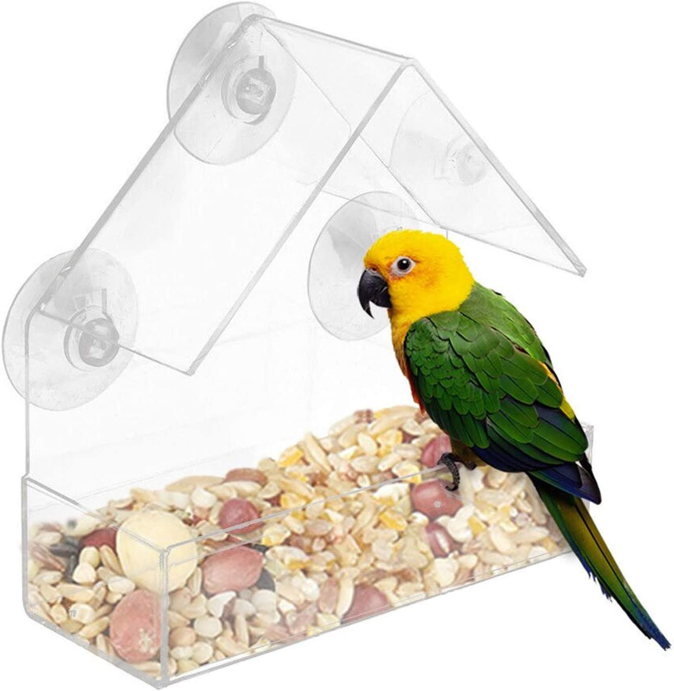YADEOU Hanging Wild Bird Feeder, Clear Weatherproof Polycarbonat Glass Window Viewing Hotel Table Seed Peanut Hanging Suction