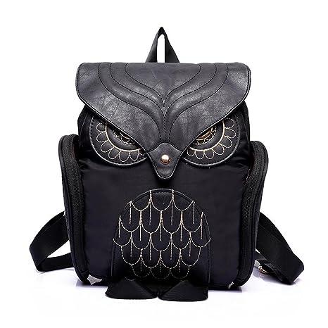 Amazon.com | Egmy® 2016 Fashion Women Leather Owl Backpack Female Mujer Mochila Escolar Feminina School Bag (Black) | Kids Backpacks