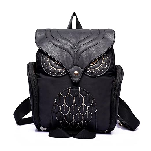 Egmy® 2016 Fashion Women Leather Owl Backpack Female Mujer Mochila Escolar Feminina School Bag (