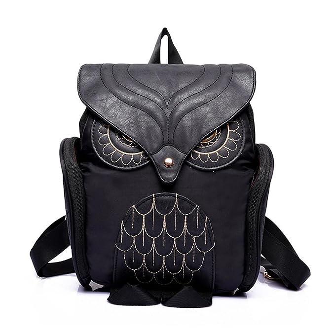 48670eb0cb9 Amazon.com   Egmy® 2016 Fashion Women Leather Owl Backpack Female Mujer  Mochila Escolar Feminina School Bag (Black)   Kids  Backpacks