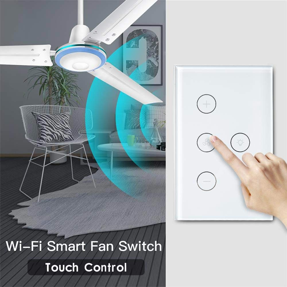 Volwco WiFi Fan Light Switch, Fan Speed Controller Fan Light Timer,  Compatible with Alexa and Google Home