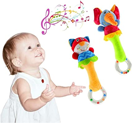 Infant Baby Toddler Animal Toy Sensory Development Rattle Squeaker Plush Toys