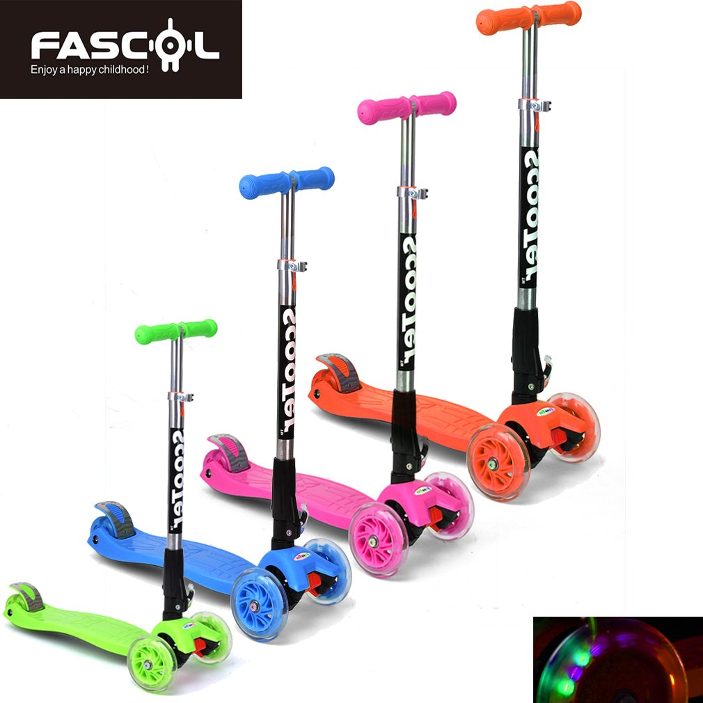 FASCOL® Twist & Roll Patinete plegable para niños con 3 ...