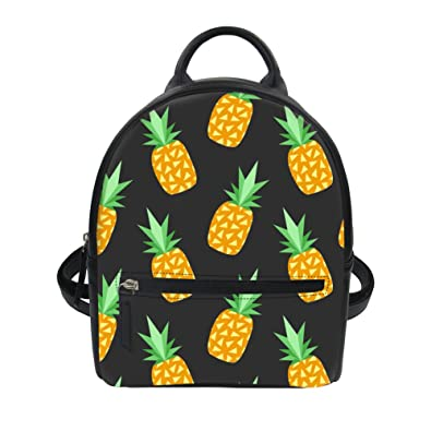dec5497b12 LedBack Pineapple Leather Backpack for Girls Black Mini Daypack Wallets  Women