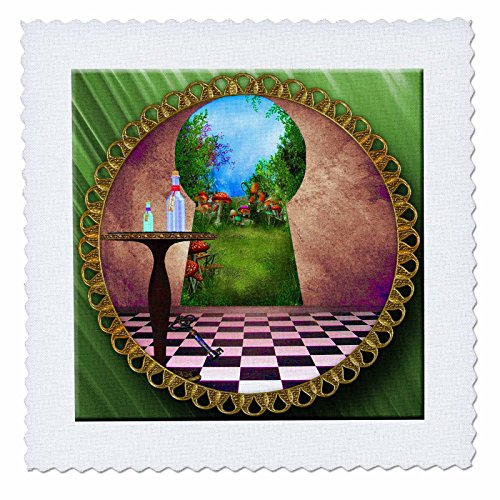 (3dRose qs_128860_4 Through The Keyholes Alice in Wonderland Art Checkered Floor Bottle of Magic Water Quilt Square, 12 by 12-Inch)