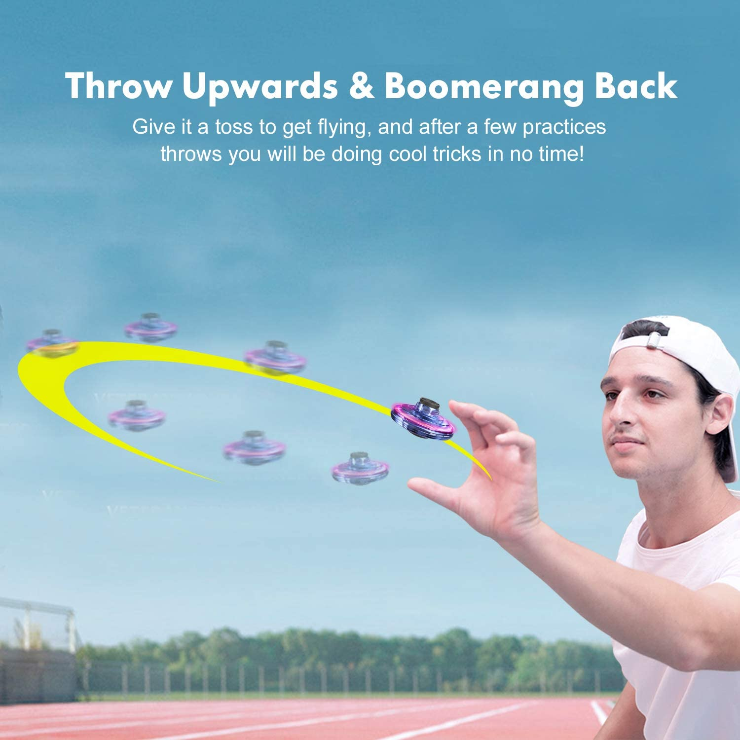 Infrared Induction Mini Drone Hand Operated for Office Outdoor Hand Controlled Flying Ball Toys with 360/°Rotating and Shinning LED Lights FlyNova Flying Toy Hand Operated Drones for Kids or Adults