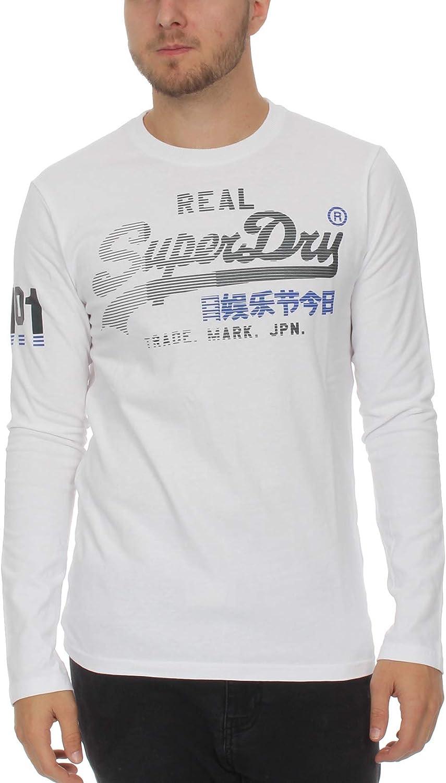 Superdry Mens Vintage Logo 1st Duo Long Sleeve T-Shirt - Optic ...