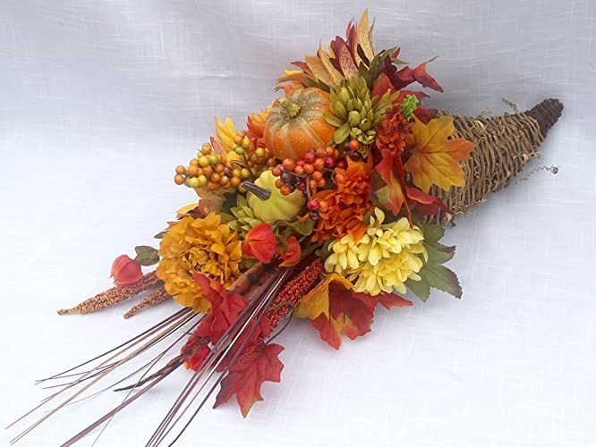 Amazon extra large traditional fall cornucopia centerpiece extra large traditional fall cornucopia centerpiece horn of plenty thanksgiving arrangement for the table mightylinksfo