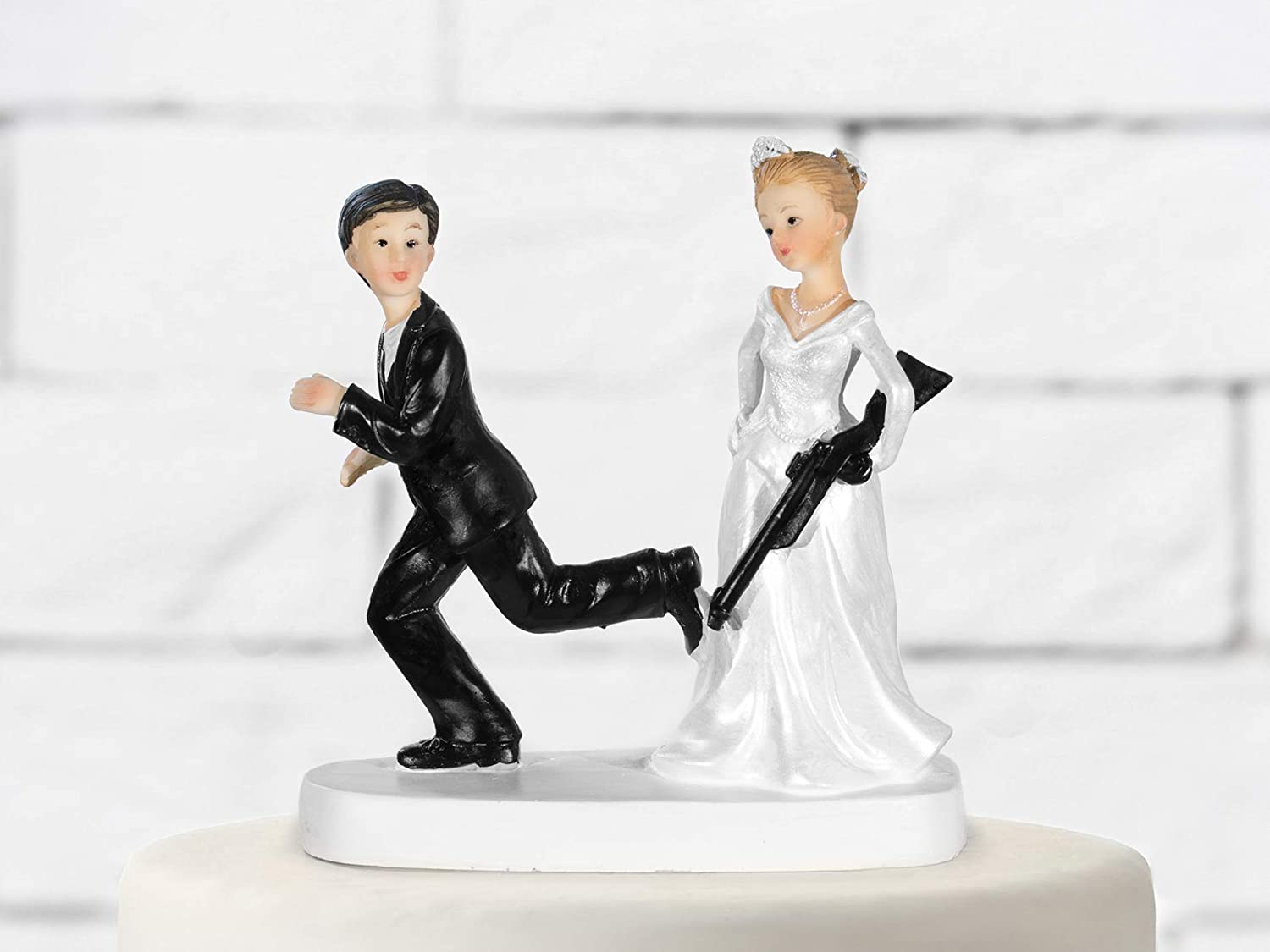 Party Deco Cake Topper Bride with Gun 13 cm Black and White