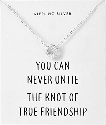 philip jones sterling silver friendship quote knot necklace