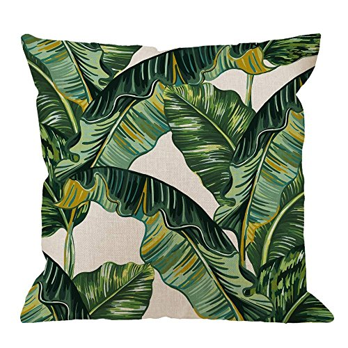GOOESING Palm Leaves Decorative Tropical Palm Leaves Jungle Leaf Green Linen Comfortable Beautiful Throw Pillow Case/Pillow Cover Size 22x22 Inches