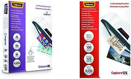Fellowes 53600 Pack de 100 fundas de plastificar, brillo, formato A5, 80 micras + 53067 Pack de 100 fundas para plastificar, formato 65 x 95 mm: Amazon.es: Oficina y papelería