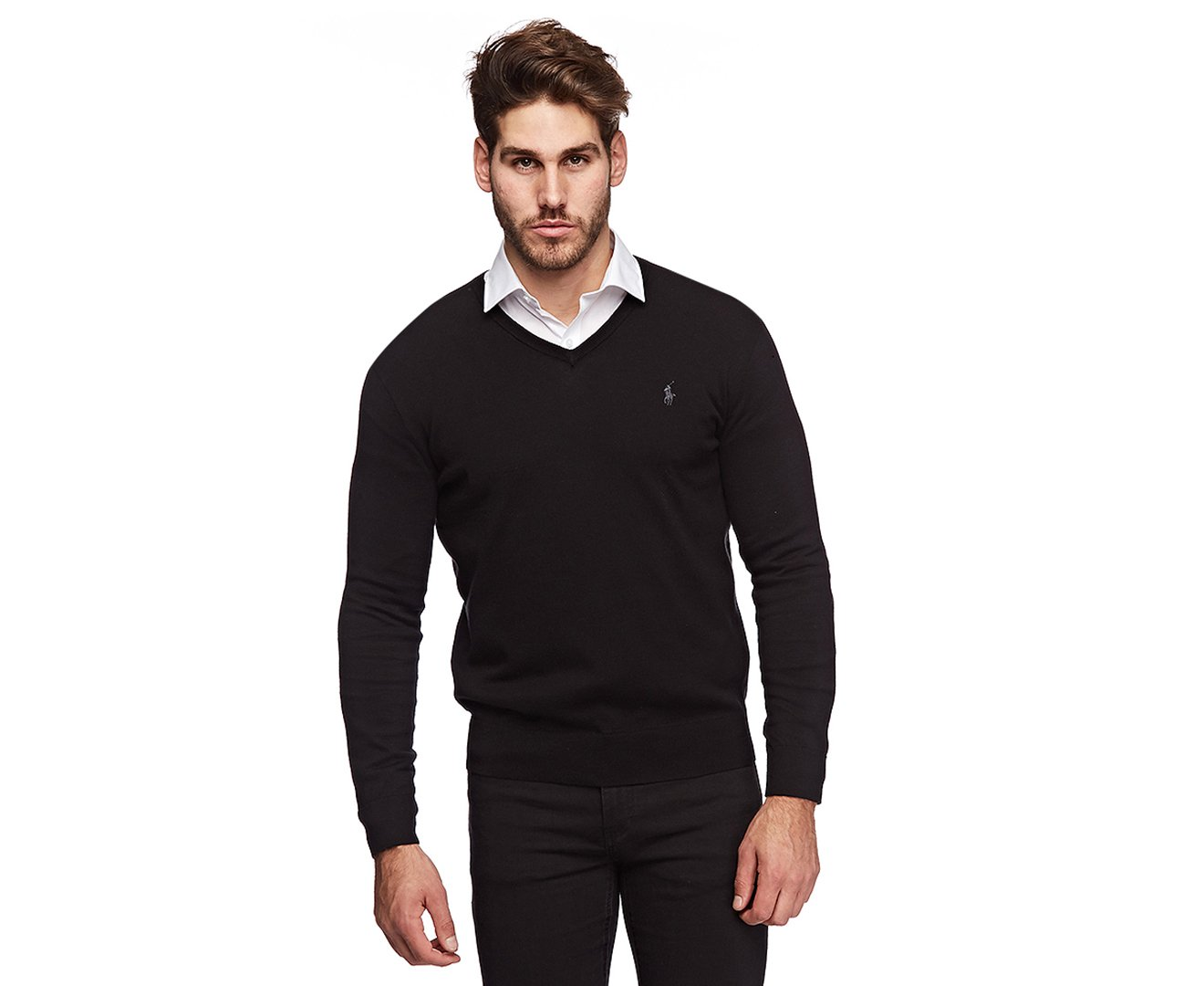 Polo Ralph Lauren Mens Pima Cotton V-Neck Sweater (Blackgrypny , XL)