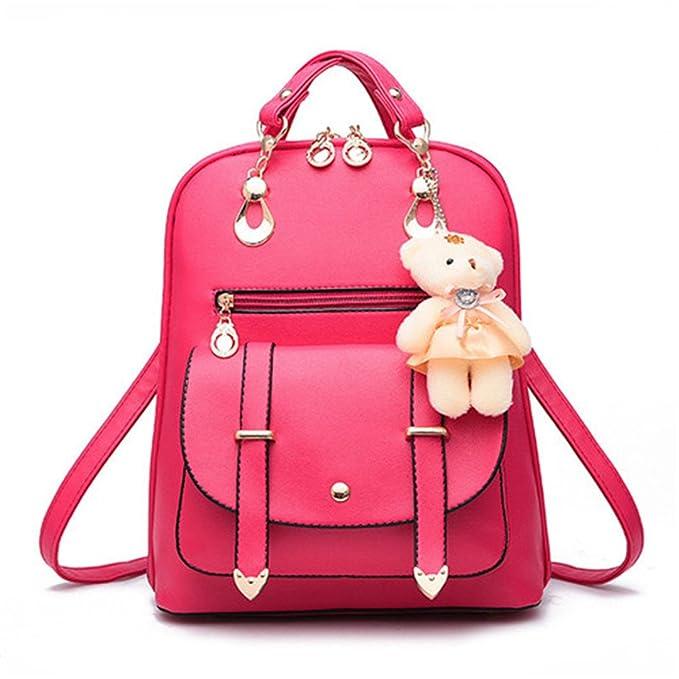 Kingsea Señora Mochila mochilas escolares Sra. bolso de viaje PU Mochila rosa roja: Amazon.es: Ropa y accesorios