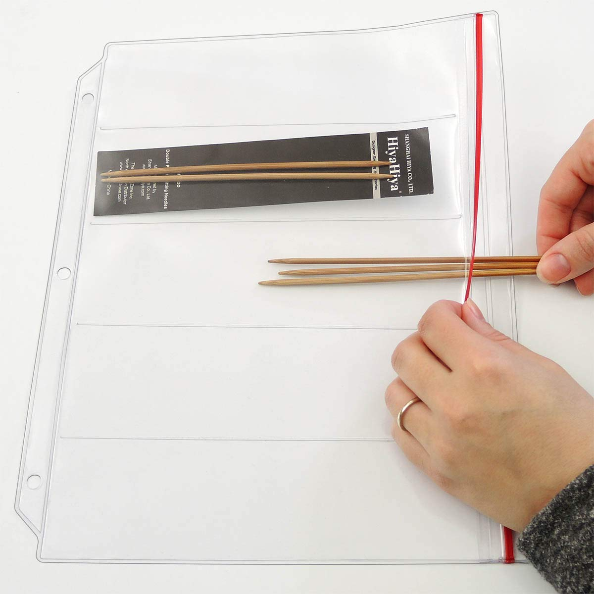 StoreSMART Binder Page for Double Point Needles - Holds 5 Needles per Page - 10-Pack - DP500-5-10 by STORE SMART (Image #3)