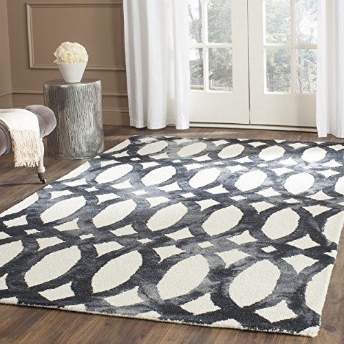 Safavieh Dip Dye Collection DDY675D Handmade Geometric Watercolor Ivory and Graphite Wool Area Rug (10' x 14')