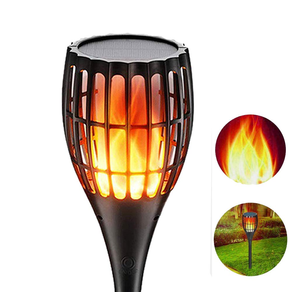 YUJENY Solar Flame Torch Lights, Waterproof Dance Flame Lighting Solar Garden Light Outdoor Landscape Decoration Lighting Dusk to Dawn Auto On/Off (1 Pack)