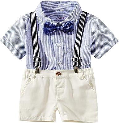 PinkLu Camisa de Rayas bebé Manga Corta Raya Conjuntos Corbata Camisa Pantalones Babero Traje Ropa de Caballero Pantalones Cortos: Amazon.es: Ropa y accesorios