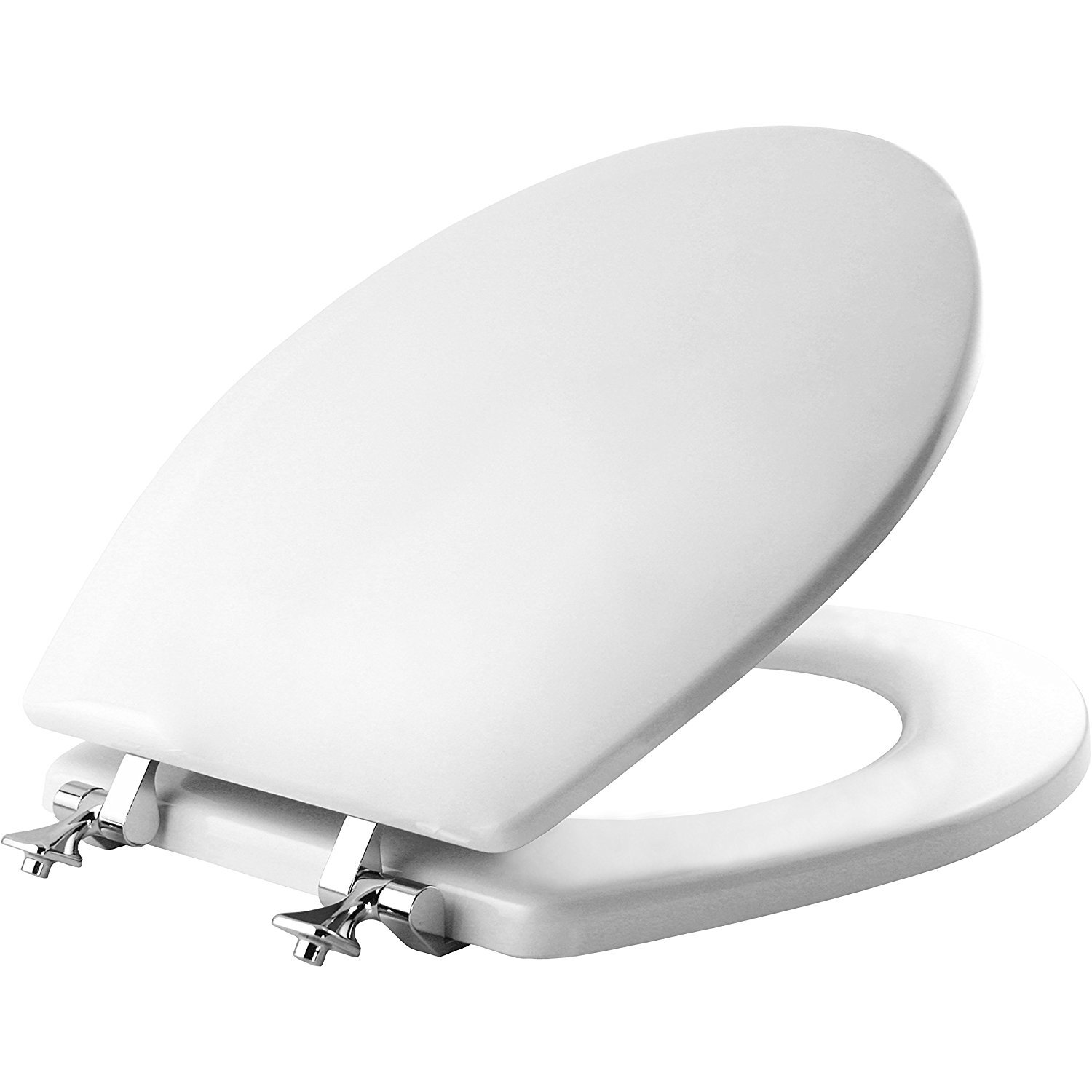 Mayfair Molded Wood Toilet Seat featuring STA-TITE Seat Fastening System & Chrome Hinges, Round, White, 44CP 000 by Mayfair