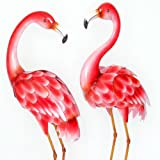 Bits and Pieces - Set of Two (2) Metal Flamingo Garden Statues - Durable Outdoor Sculptures Make Great Home Décor