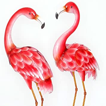 Bits And Pieces   Set Of Two (2) 35 ½u201d Tall Metal Flamingo