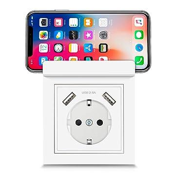 8dbff8174bf USB enchufes, Kaifire Toma de corriente Schuko al ras con el puerto 2 USB  con soporte para teléfono - Cargador de Smartphone Tableta: Amazon.es:  Bricolaje y ...