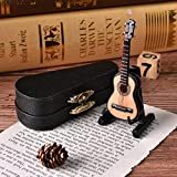 Dengguoli 3 inch Mini Guitar Dollhouse Miniature Musical Instrument Wooden Model Decor with Stand Support and Case
