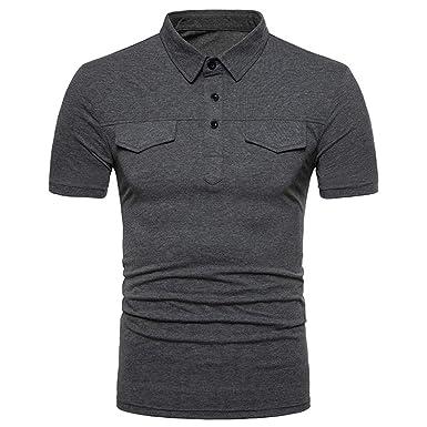YpingLonk_ Camisetas de Hombre Polo Shirt, Color Sólido La Solapa ...