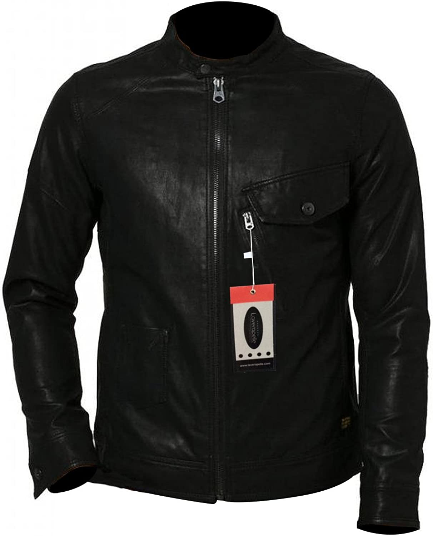 1510550 Lasumisura Mens Black Genuine Cowhide Leather Jacket