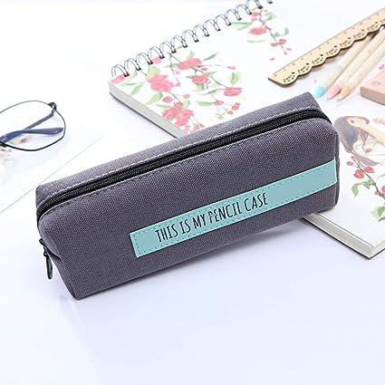 Lápiz Cuadrado Simple Bolsa De Gran Capacidad Papelería Lienzo Almacenamiento Simple Estuche Pequeño: Amazon.es: Oficina y papelería