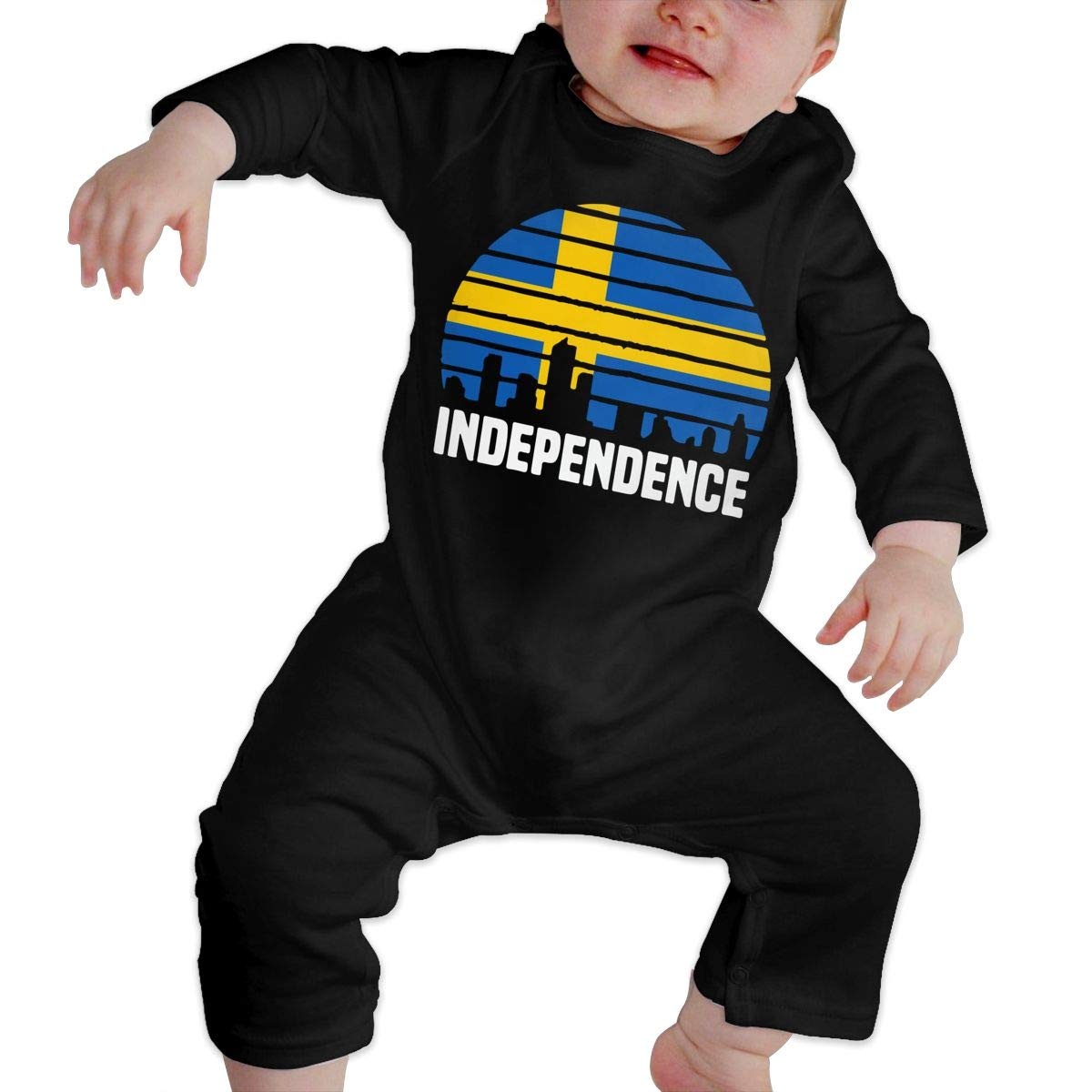 UGFGF-S3 Independence City Swedish Flag Baby Girl Long Sleeve Romper Jumpsuit Jumpsuit Onsies
