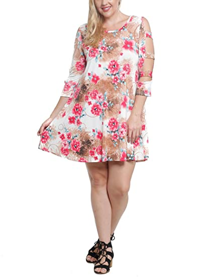 0bffc5f19ed2 Tendzi Trends Plus Size Floral Cutout Sleeves with Pockets Tunic Dress Made  in USA (1X
