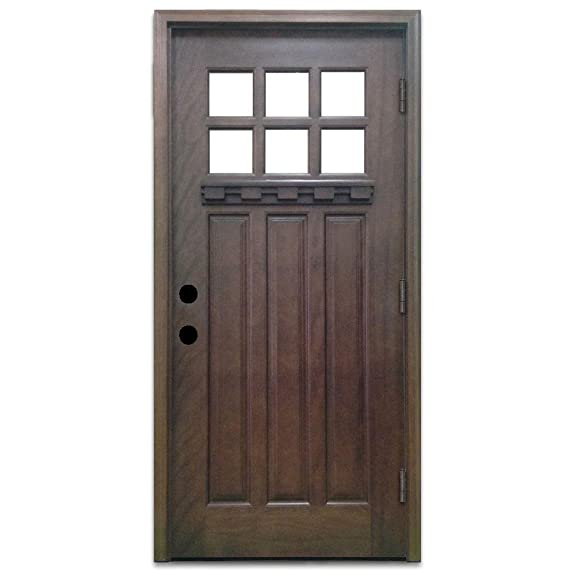 Genial Craftsman 6 Lite Stained Mahogany Wood Left Hand Outswing Entry Door With