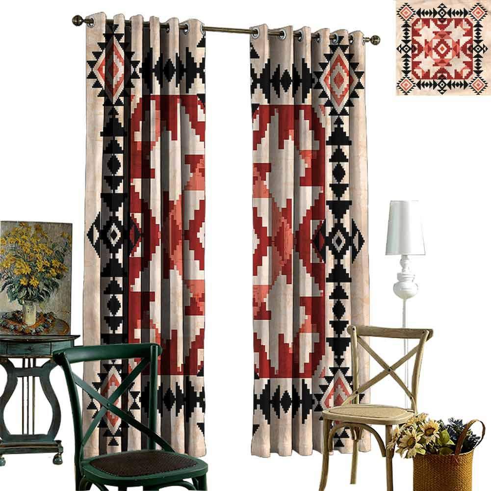 zojihouse Geometric Ornament Native American Nursery/Baby Care Curtains W97xL84 Indo Treatment Panes by zojihouse