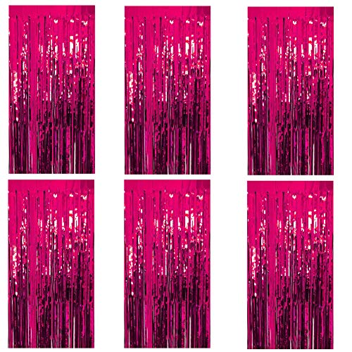 Deruicc 6 Pack Hot Pink Foil Curtains 3ft x 8ft Tinsel Fringe Curtains Shimmer Curtain Birthday Wedding Party Christmas Photo Booth Backdrop Decorations (Hot Pink, -