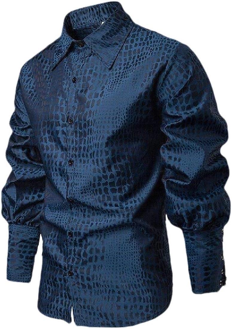 Macondoo Mens Summer Lapel Collar Button Down Long-Sleeve Medieval Shirts