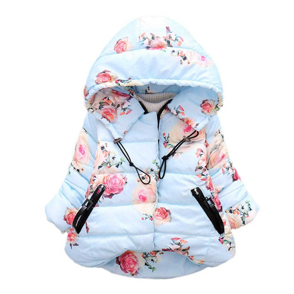 LIKESIDE Baby Girl Boy Floral Print Winter Warm Jacket Hooded Windproof Coat